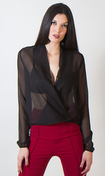 Sheer Wrap  Shirt