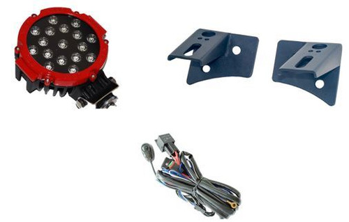 """Radius 7"""" Spot (Red or Black) 51W With Metal Lower A-Pillar Brackets And Wiring Harness"""