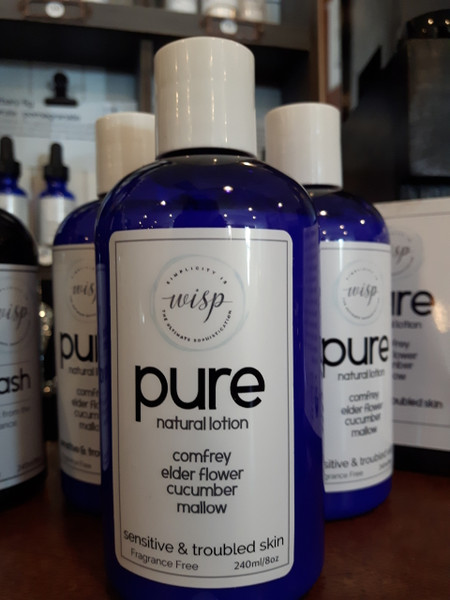 Pure natural lotion contains comfrey elder flower, cucumber and mallow. No added fragrance or colorants/dyes.