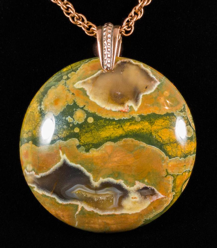 Striking Painted Jasper Round Pendant