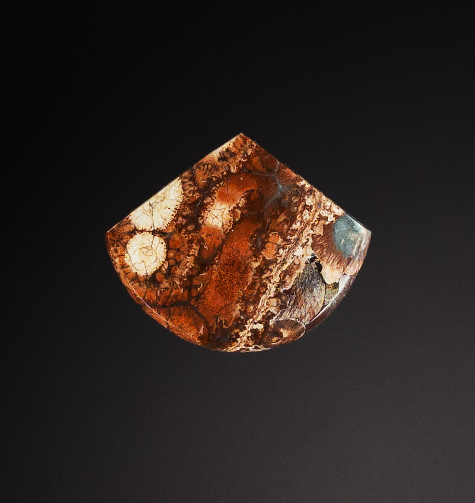 Extraordinary Bird's Eye Ryhyolite Cabochon, 32x27x4.5mm, 22.9 cts