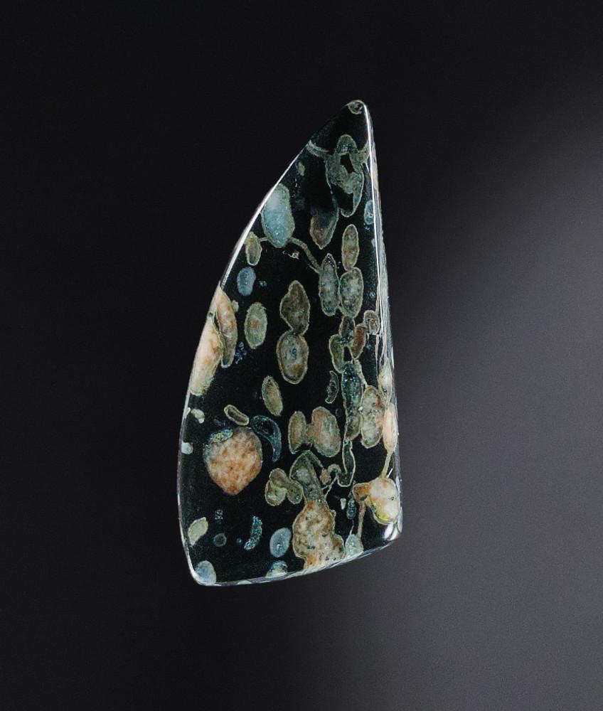 Striking Plum Blossom Jasper Cabochon, 45x20x5.5mm, 38.2cts (NF1304)