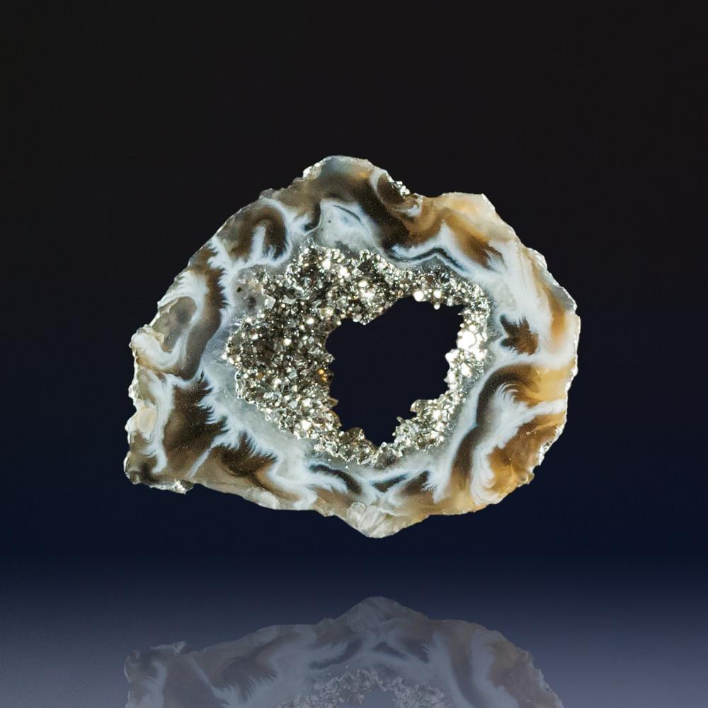 Wonderful Ocho Agate Geode Slice with Platinum, 49x40x5mm, 62 cts