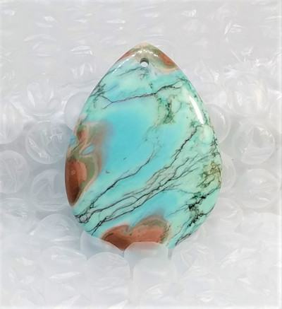 Multicolor Turquoise Pendant, Teardrop-shaped
