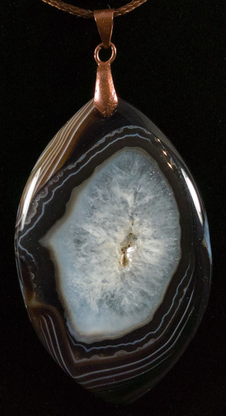 "Beautiful Brown/Black & White Striped Agate ""Druzy"" Pendant - view 2"
