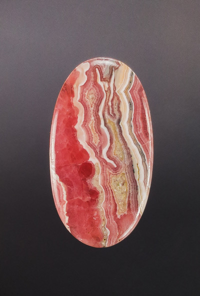 Lovely Rhodochrosite Cabochon, 53x29x5mm, 81 cts