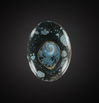 Exceptional Agatized Colus Cabochon, 37x27x8mm, 55 cts (NF1300)