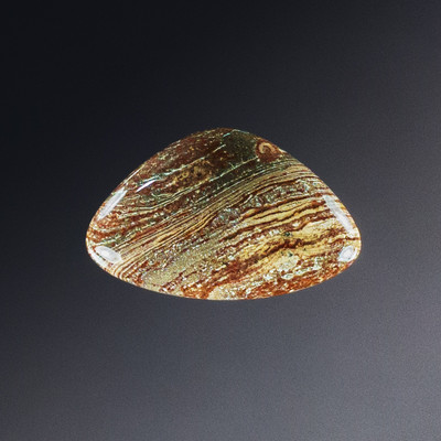 Intricate Chinese Striped Jasper Cabochon, 35x22x6mm, 29.8 cts