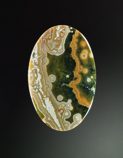 Nicely Patterned Ocean Jasper Cabochon, 44x28x5mm, 44.7 cts