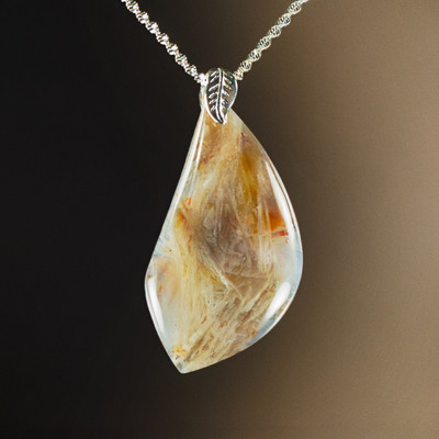 Pretty Bamboo Leaf Agate Pendant with Sterling, 59x32x7.5mm, 76.8 cts