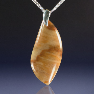 Ocean Wave Jasper Pendant with Sterling, 45x21x6mm, 34.5 cts