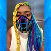 Momo Pixel in Turquoise, Purple, Petrol Ombré, Cobalt Blue, Yellow, Lime Green, Sky Blue, and Seafoam Ombré braids.
