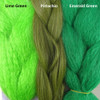 Color comparison from left to right: Lime Green, Pistachio, Emerald Green
