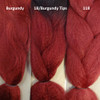 Color comparison from left to right: Burgundy, 1B Off Black with Burgundy Tips, Blood Red
