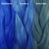 Color comparison from left to right: Bluebonnet, Blueberry, Denim Blue