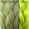 Color comparison from left to right: Olive Green, Light Olive Green, Pistachio
