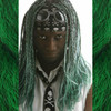 Halo13 wearing braids in 1B Off Black/Emerald Green Mix, 1B Off Black, and 60 Silver White