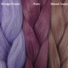 Color comparison from left to right: Vintage Purple, Plum, Mauve Taupe