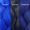 Color comparison from left to right: Navy Blue, Royal Navy, Midnight Blue