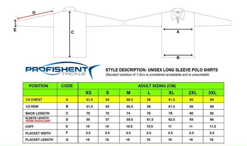 Profishent Sublimated Fishing Shirt Sizes