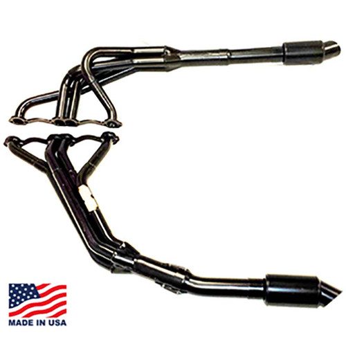 """Beyea 604 Headers for Modifieds - 1.63-1.75"""" w/ Torque Plate, Extensions, and Mufflers"""