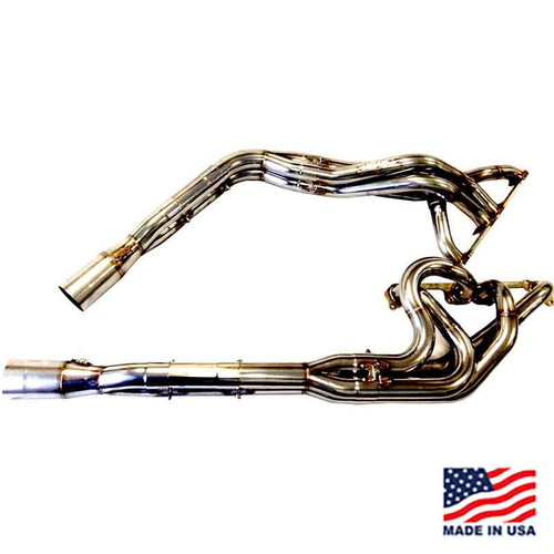 "Beyea Stainless Steel 604 DLM Headers - 1.63-1.75""-2.75"" Collector w/ Extensions and Mufflers"