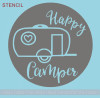 Happy Camper 15inch Round Stencil Wood Project RV Wall Decor Quote