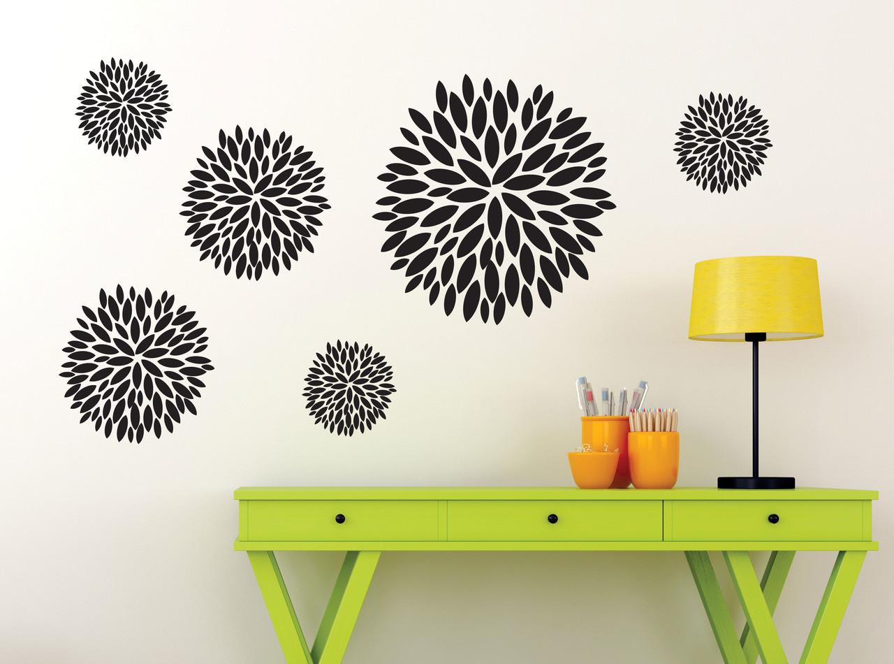 Flower Burst Vinyl Large Wall Decals Stickers Set Of 6