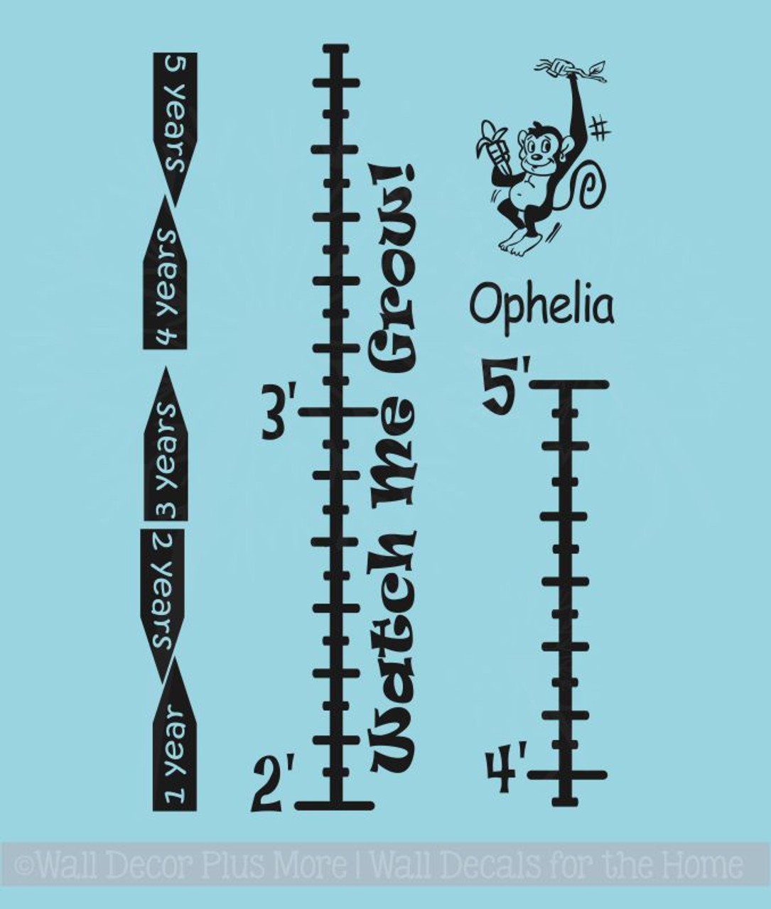 Monkey Growth Chart Wall Sticker Decals Diy Height Ruler With Custom