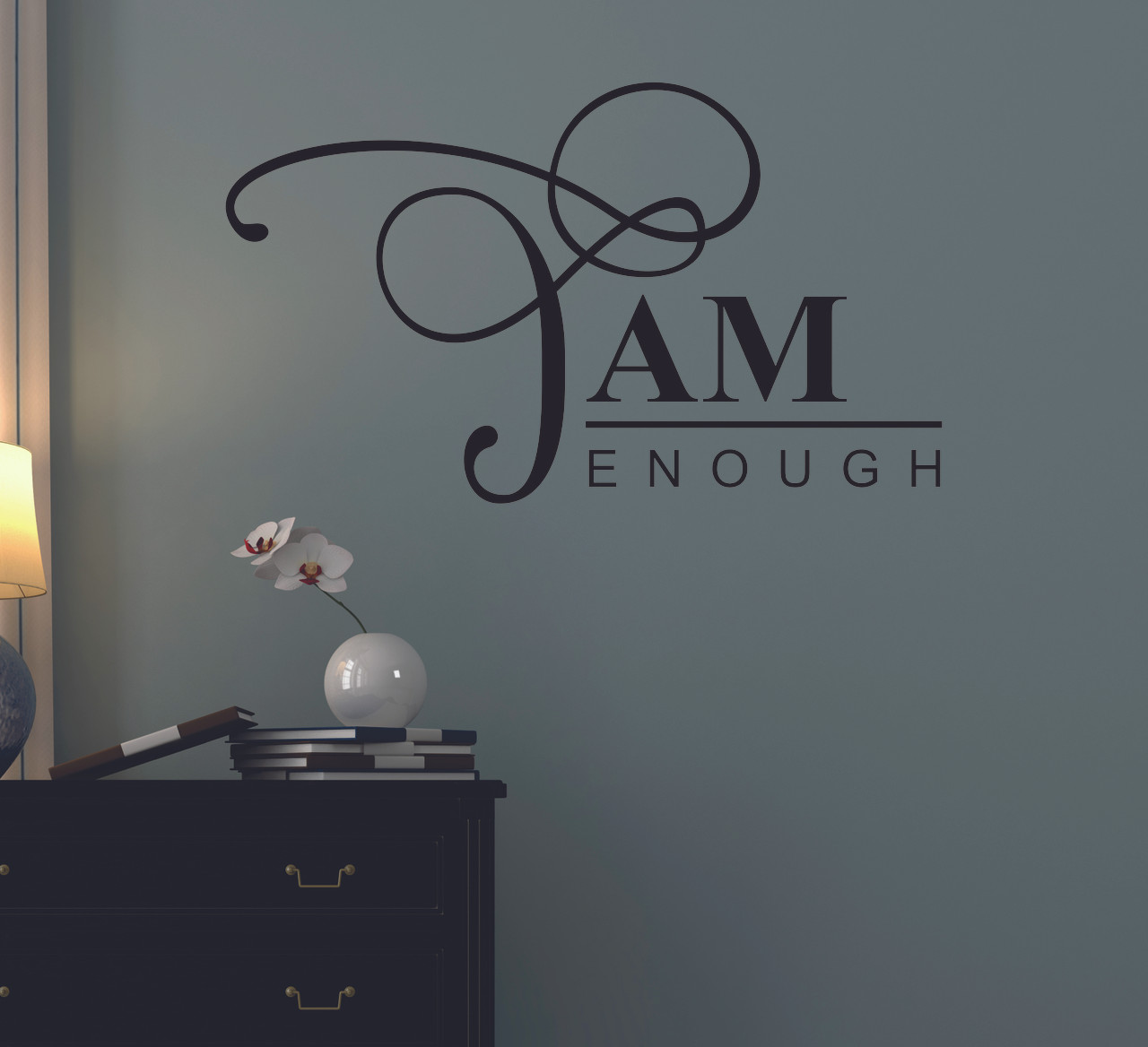 & Wall Decals Motivational I am Enough Affirmation Quote Vinyl Sticker