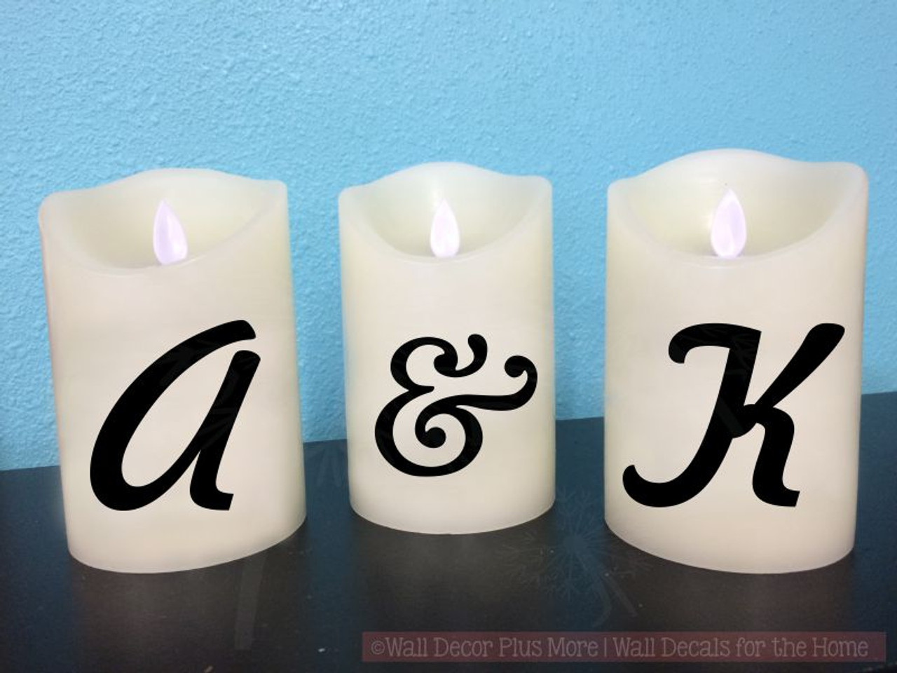 Monogram initials vinyl stickers lettering decals for led flameless candles shown on 5 candle