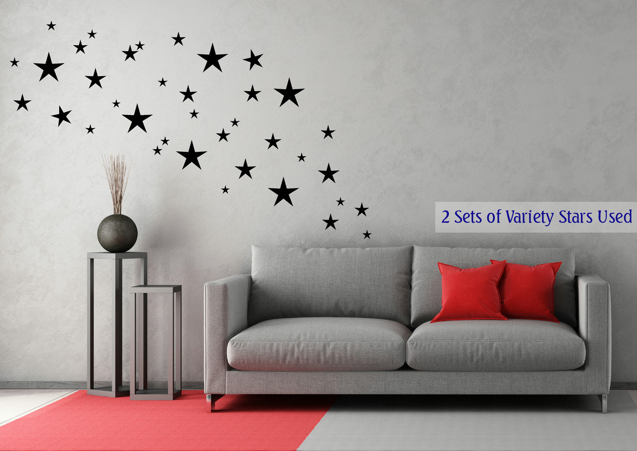 Variety Star Wall Stickers Vinyl Decals Shapes Black & Variety Star Wall Stickers Vinyl Decals Shapes - 16 pc - 8inch-2inch
