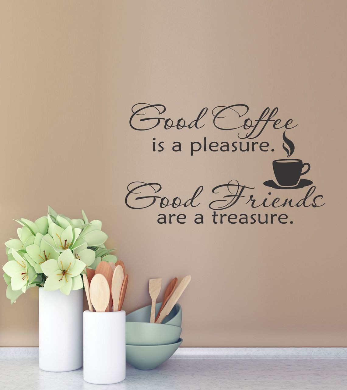 Wall Decals Quotes: Good Coffee Good Friends Kitchen Wall Decal Quote Vinyl