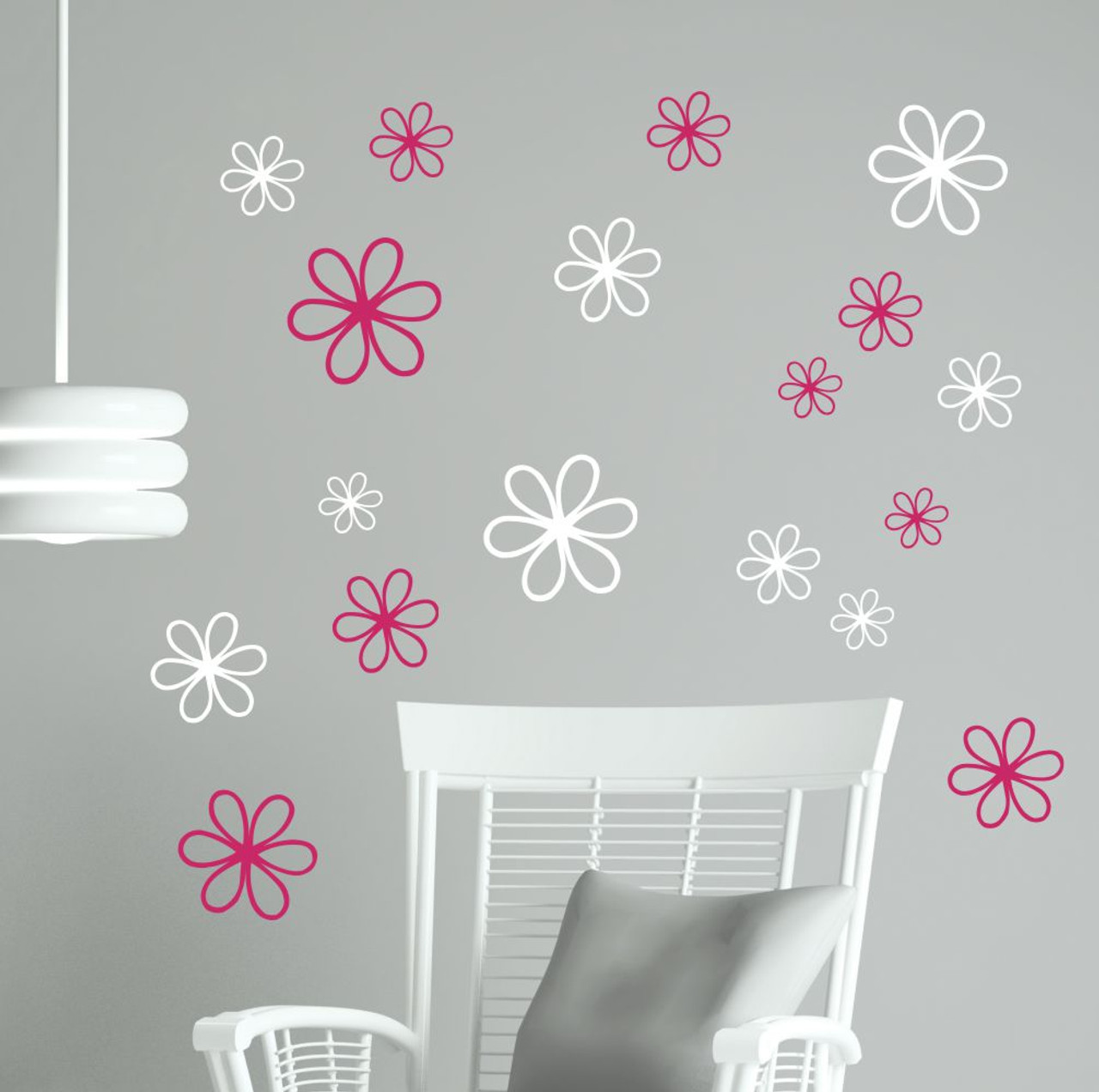 2-Color Daisy Floral Wall Decal package, 16pc