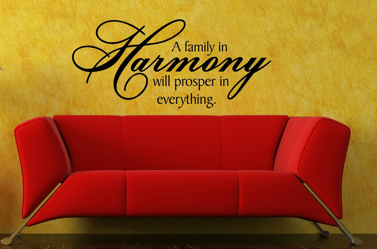 A Family in Harmony.. Wall Decal Vinyl Stickers Quote for Home Decor