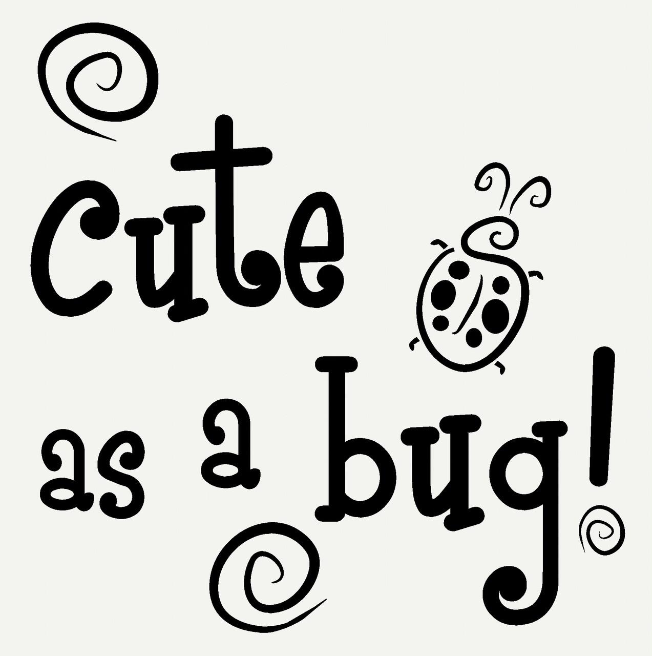 cute as a bug with ladybug and swirls wall art sticker girls vinyl