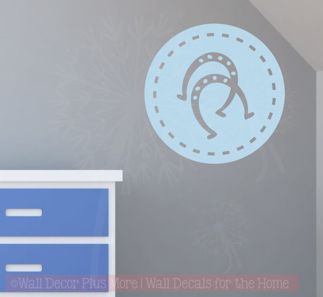 & Horse Shoes in Circle Western Wall Decals Cowboy Wall Décor Decal