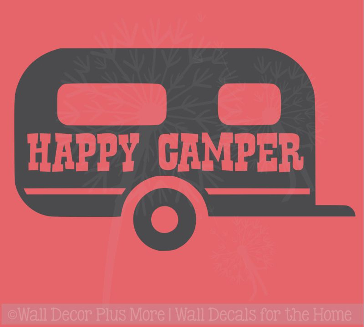 Happy Camper Summer Quotes Vinyl Wall Decals With Vintage Design