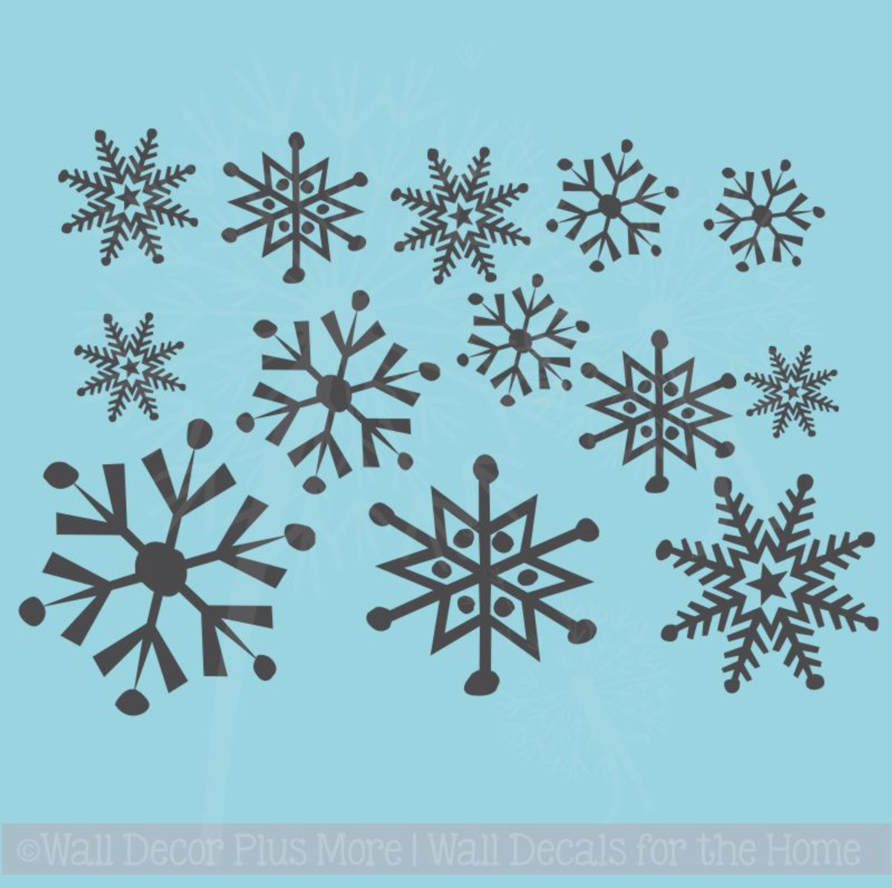 large snowflake designs vinyl decals assorted set of 13 stickers