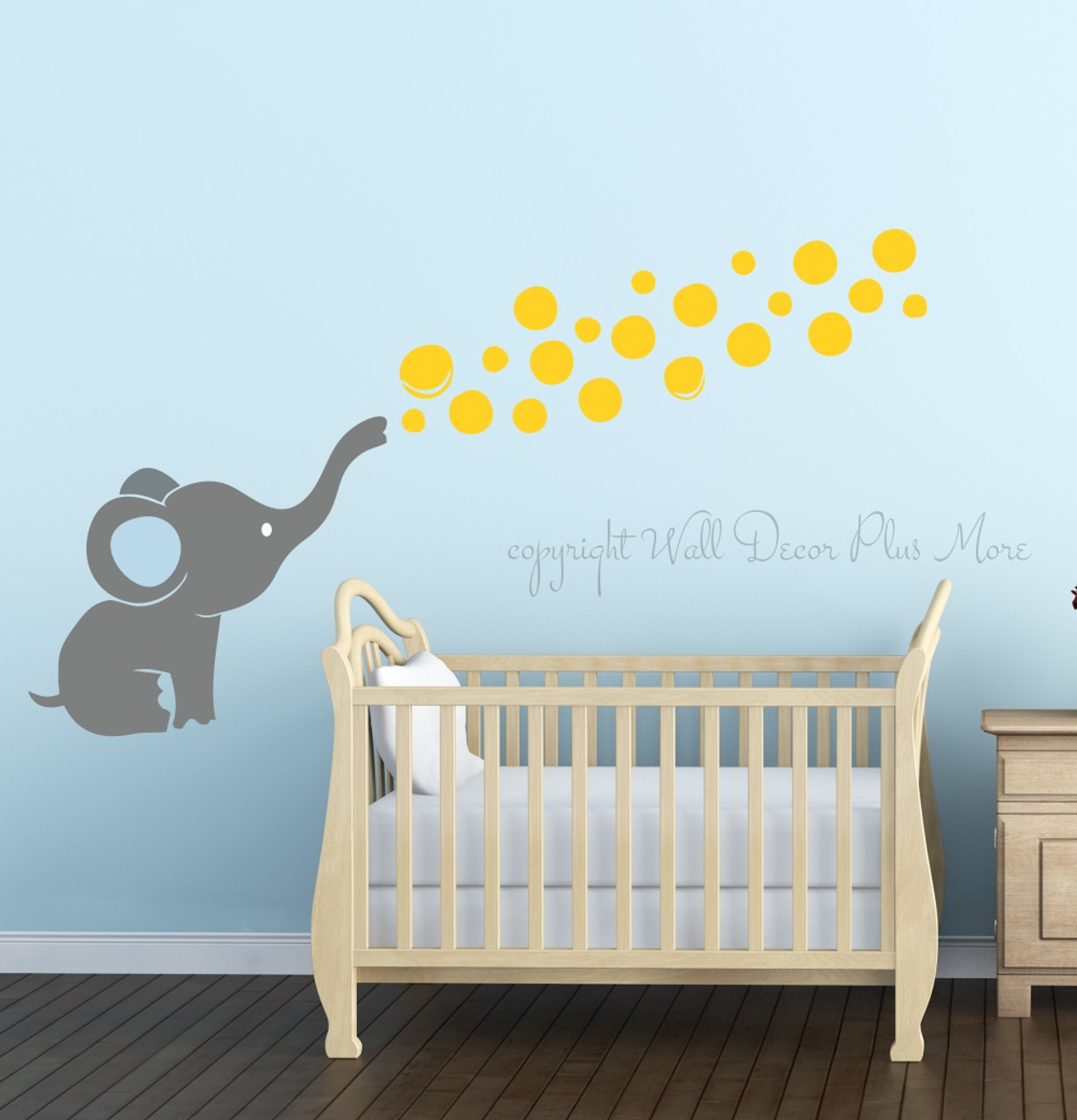 Elephant Twin Nursery Wall Art Nursery Room Decor For Twins: Elephant Wall Decal With Floating Bubbles, Cool Nursery