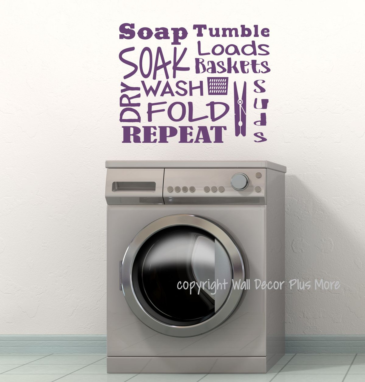 Superb Laundry Room Wall Decal Letters Soak Wash Dry Fold Vinyl Stickers