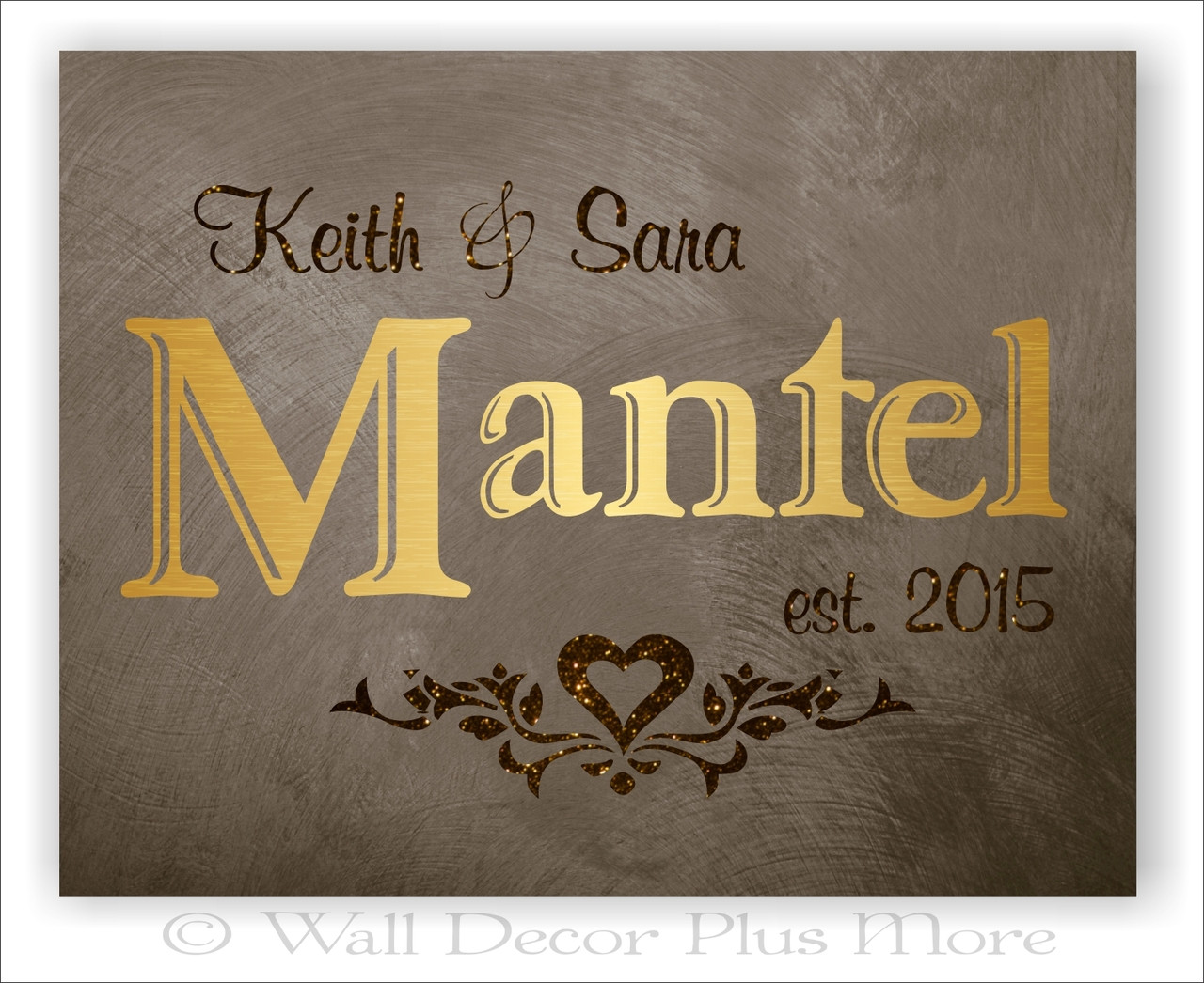 Metallic Gold Glitter Canvas Print Wall Art Personalized Wedding Gift Names