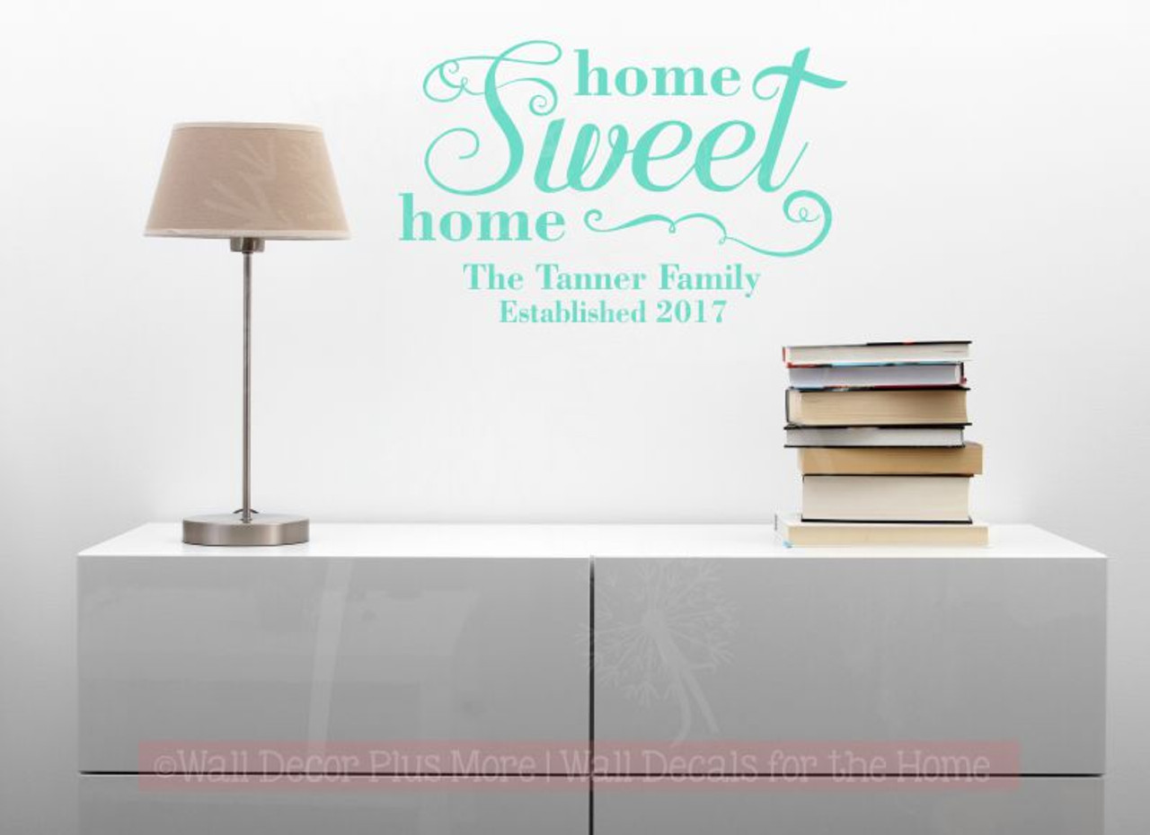 Home sweet home family wall art decals name est date custom wall lettering