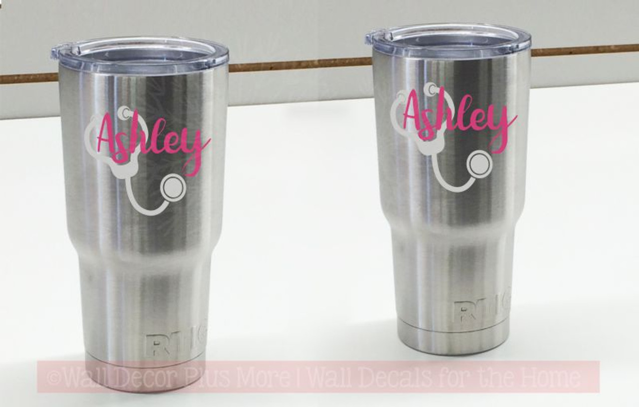 Nurse tumbler decals vinyl stickers stethoscope customized with name set of 2