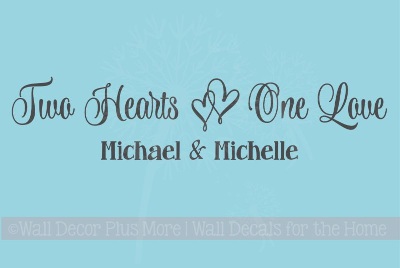 Two hearts one love wall decals vinyl decal bedroom sayings personalized