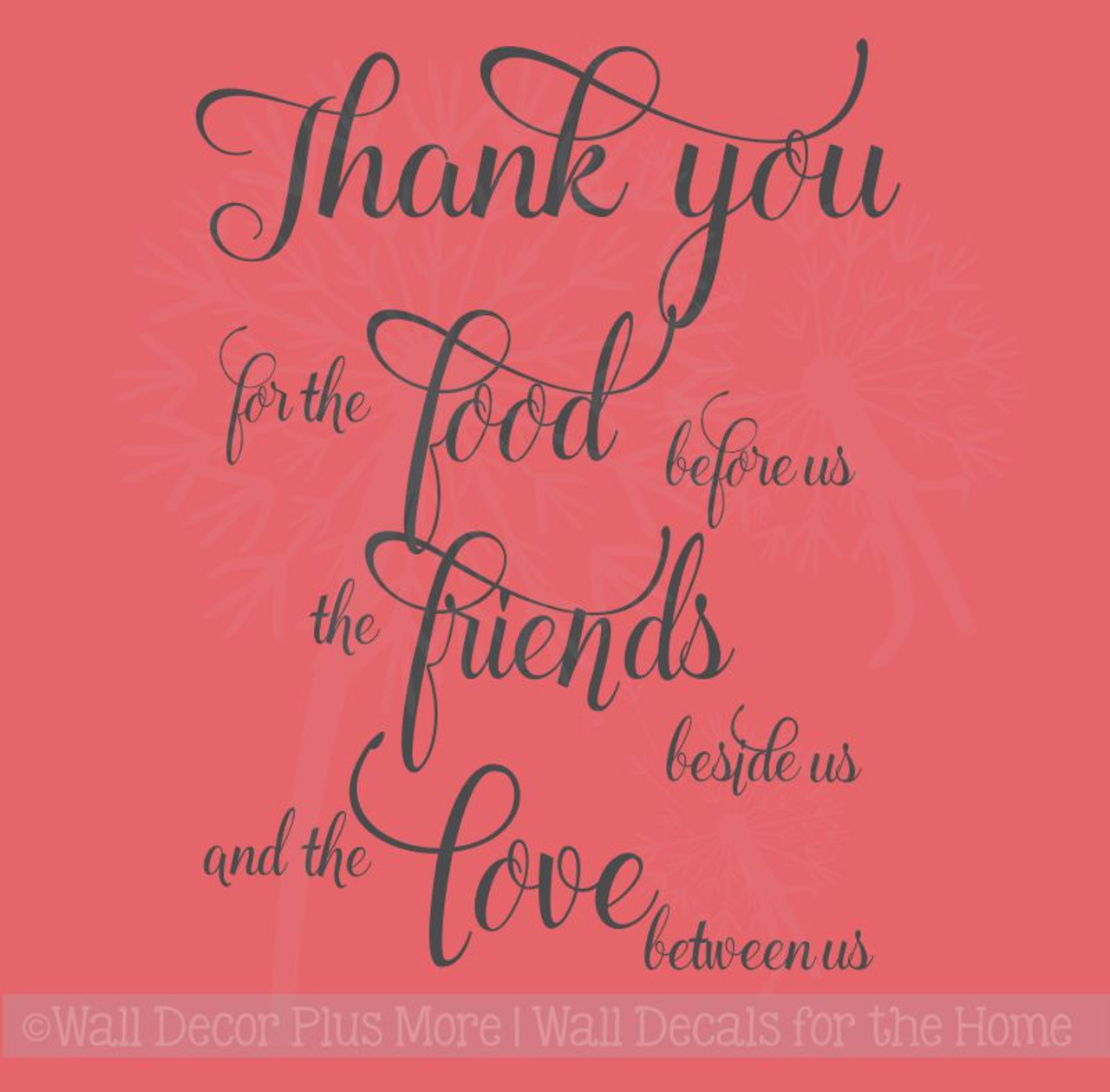 thank you for the food friends love kitchen sayings wall decal stickers - Kitchen Sayings
