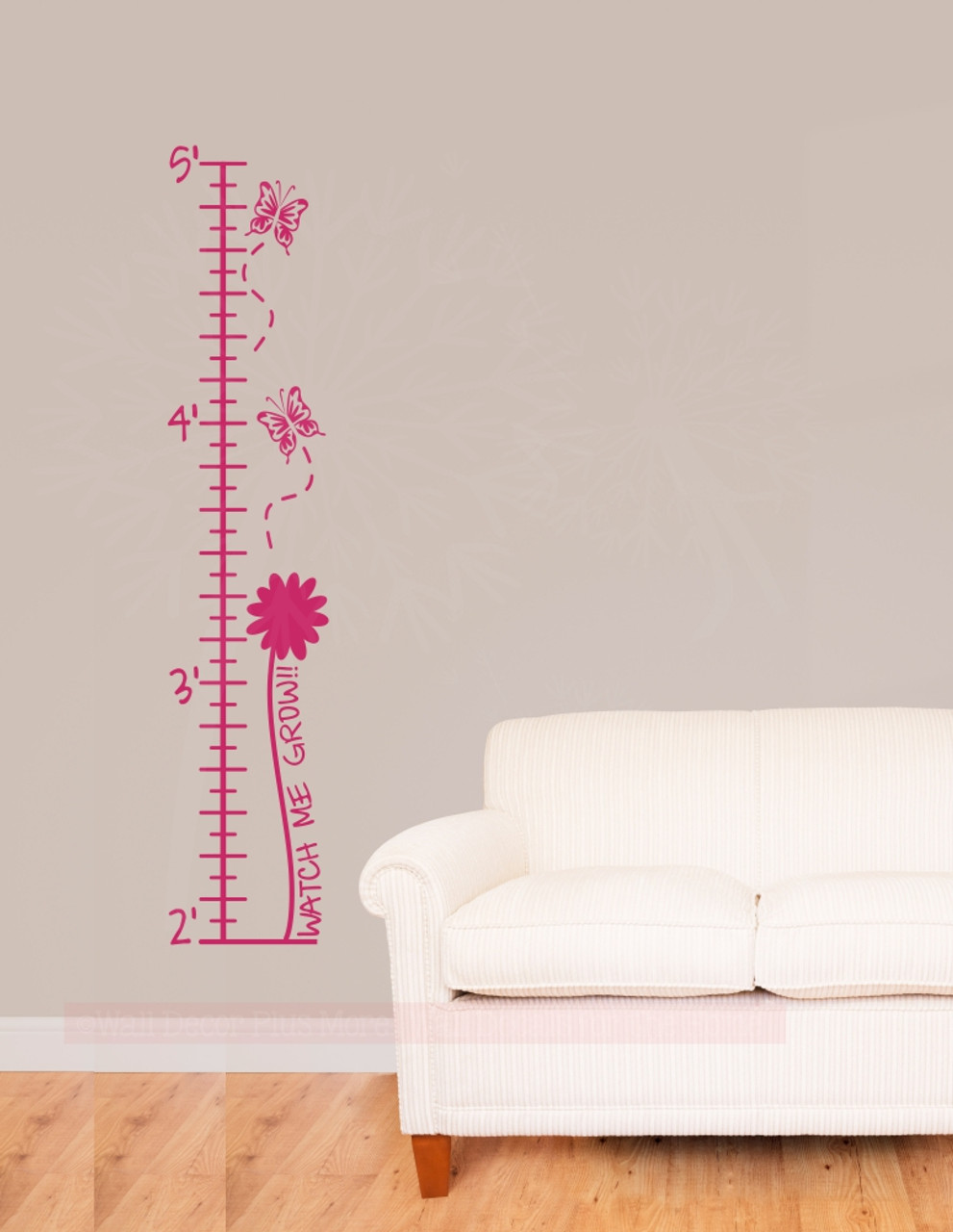 Butterflies Flowers Height Chart For Girls Wall Growth Chart Ruler