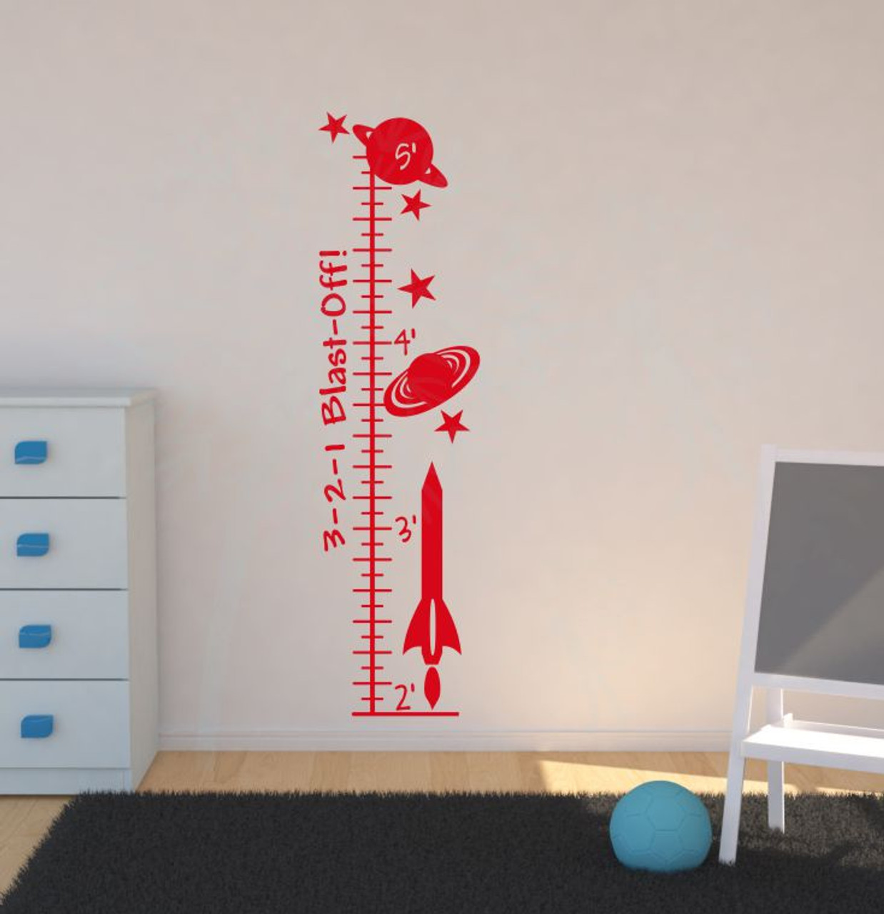 Blast Off Outer Space Rocket Ship Growth Chart Wall Decal Art Sticker