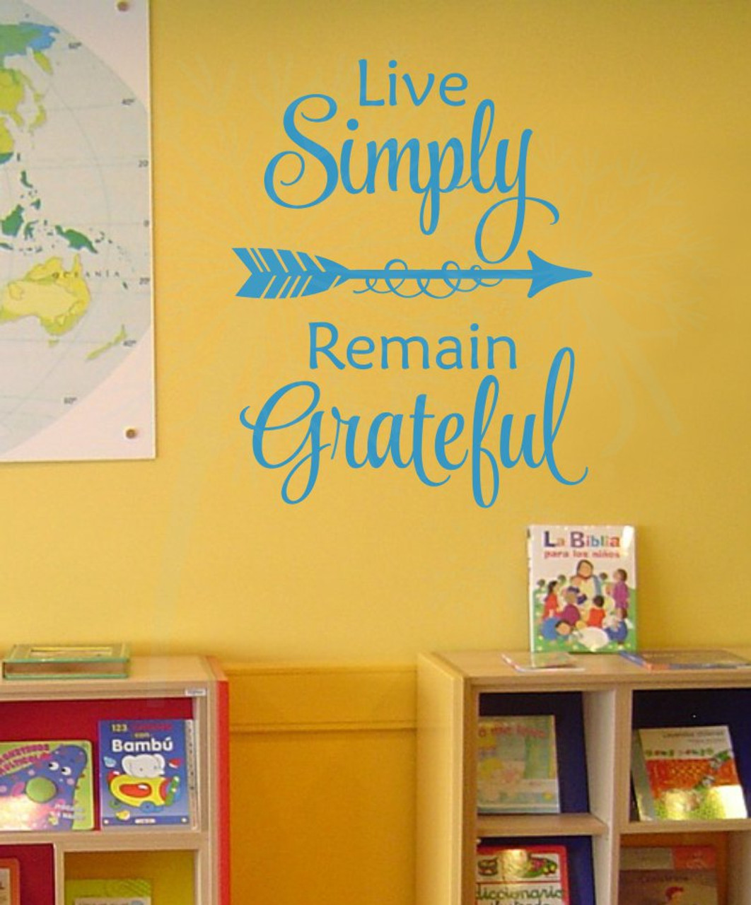 Live Simply, Remain Grateful Wall Vinyl Decals Inspirational Home ...