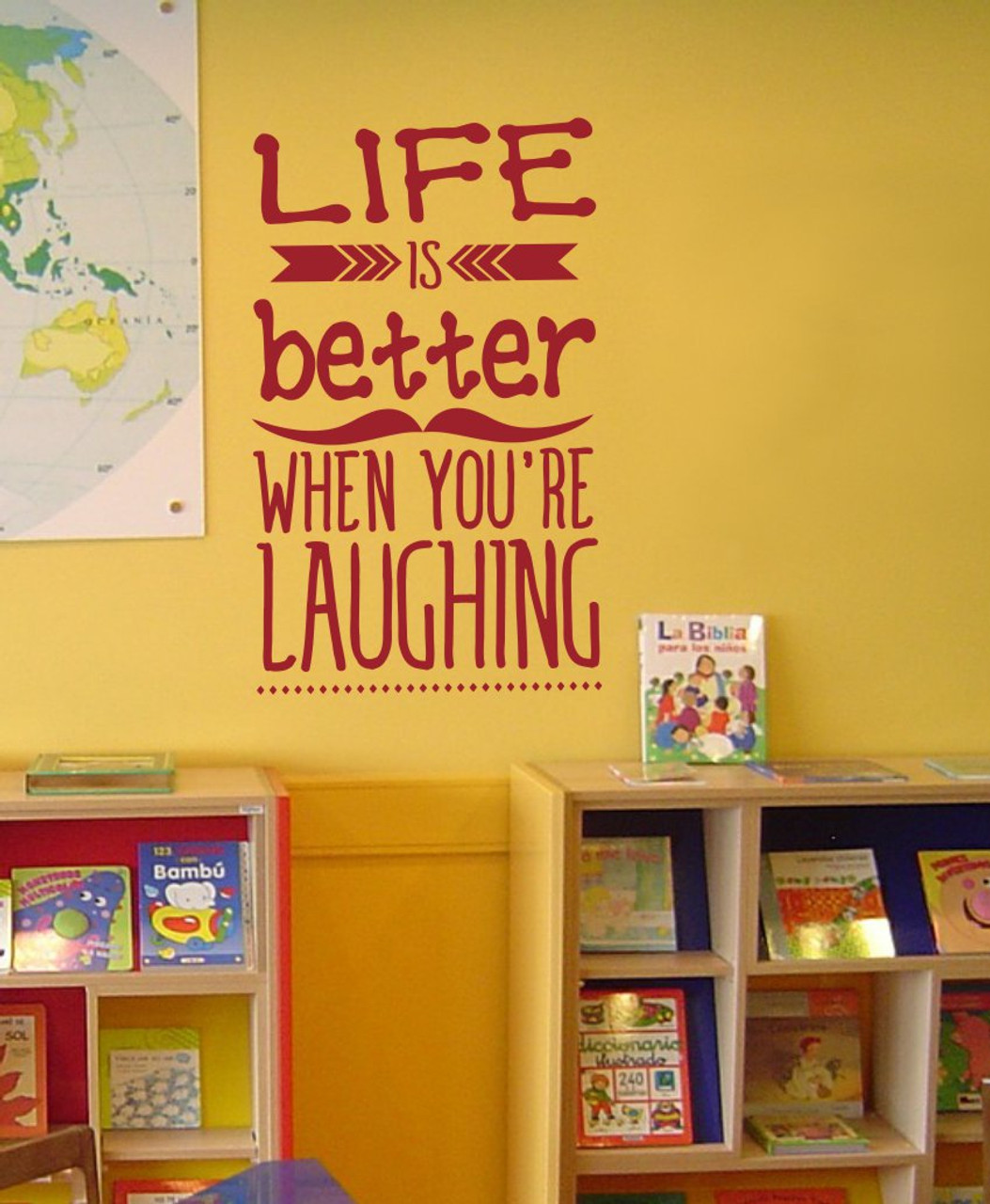 Life is Better Laughing Inspirational Wall Art Decals Arrow Wall ...